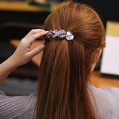 韓版商務風格彈簧夾百搭大號拼接馬尾發時尚精品發飾LJ7035『miss洛羽』