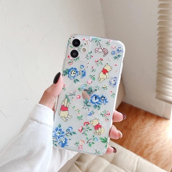 iPhone12 蘋果手機殼 可掛繩 花朵維尼熊鳳梨史迪奇 矽膠軟殼 (台灣發貨) 店主推薦 i11/iX/i8/i7/SE