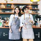 日式圍裙 棉麻簡約咖啡廳圍裙 餐廳奶茶店烘焙文藝韓式成人工作服 女【藍星居家】
