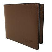 【COACH】經典 LOGO 皮革8卡對折輕便短夾(咖)