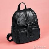 後背包女雙肩包女新款時尚百搭休閒韓版旅行背包簡約軟皮質女士包包潮 多色小屋