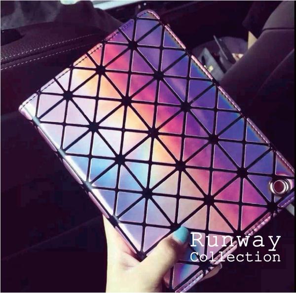 雷射 菱形 漆皮 iPad Air 2 Mini 1/2/3 保護套 皮套 鐳射 幾何三角 平板套