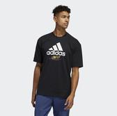 ADIDAS 黑 白 金LOGO 短袖T恤 短T 男 (布魯克林) GJ0293