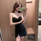 平口洋裝/一字領 2021春夏新款韓版氣質修身包臀連身裙性感顯瘦抹胸魚尾裙子小禮服