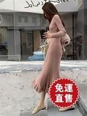 針織包臀裙 洋裝女加厚過膝長裙修身包臀復古毛線針織毛衣裙長款 新年禮物