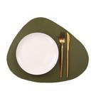 質感皮革圓三角餐墊-墨綠色