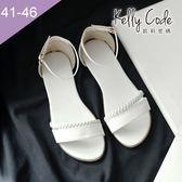 大尺碼女鞋-凱莉密碼-夏日性感百搭真皮編織羅馬平底涼鞋2cm(41-46)【YGL628】白色