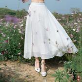 蝴蝶繡花蕾絲鬆緊腰高腰裙原宿民族風二層半身裙【萬聖節推薦】