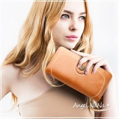 母親節慶_點數再十倍送_長夾-太陽花大容量油蠟皮女士皮夾手拿包手機包-附手腕帶 AngelNaNa(SMA0259)
