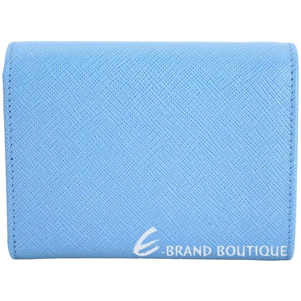 PRADA Saffiano 金字防刮牛皮三折式短夾(水藍色) 1710826-27