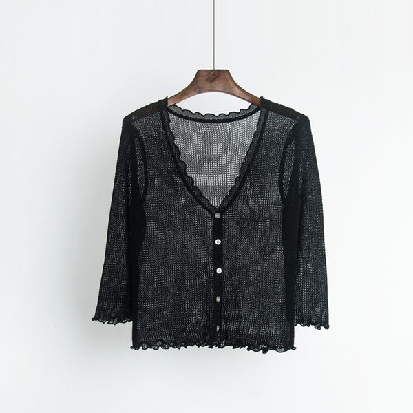 (RT-1331)七分袖針織開衫女春夏V領短款空調衫薄款防曬荷葉邊鏤空披肩外套