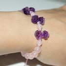 【喨喨飾品】粉晶 / 紫水晶 玫瑰花 浪漫之物 手鍊 A638