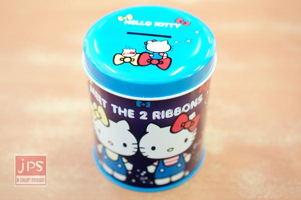 Hello Kitty 圓罐 存錢筒 雙胞胎 星空藍