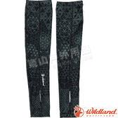 Wildland 荒野 W1809-54黑色 中性印花開洞透氣袖套 抗UV遮陽手套/快乾機車手套/單車防曬袖套