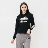 女裝ROOTS- 飾邊落肩毛圈布連帽上衣-黑色