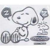 〔小禮堂〕史努比 車用造型裝飾貼《銀.睡覺.小黃鳥》汽車適用.輕鬆裝飾愛車 4956019-13109