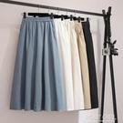 胯大腿粗半身裙中長款夏季高腰顯瘦a字亞麻擺裙寬鬆大碼棉麻裙子 夏季新品