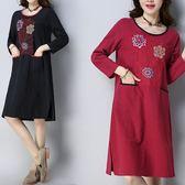 棉麻 復古風花刺繡洋裝-中大尺碼 獨具衣格
