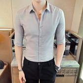 男士正韓修身七分袖潮流襯衫男生休閒百搭中袖襯衣青少年男