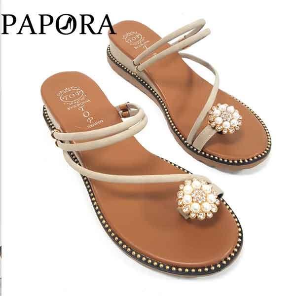 涼鞋.珍珠設計二穿式式涼拖鞋【K6611】黑 / 綠 / 杏