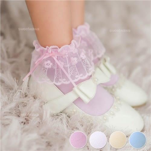 小公主搭禮服洋裝推薦~蕾絲緞蝶結微鏤空針織襪(P11748)★水娃娃時尚童裝★