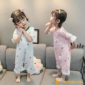 女童連體睡衣睡裙嬰兒純棉短袖女孩衣服女寶寶薄款家居空調服【小橘子】