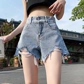 牛仔短褲女 2021年新款寬鬆牛仔短褲女夏季薄款超顯瘦高腰辣妹寬管a字熱褲潮【八折搶購】