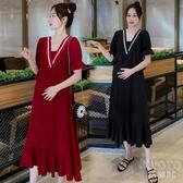 孕婦裝夏裝懷孕期寬鬆顯瘦過膝雪紡長裙時尚辣媽裙夏季孕婦洋裝 京都3C
