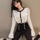 長袖針織衫 針織上衣 韓系 修身 顯瘦 長袖上衣 黑色 白色 依米迦 799-5234