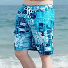 夏季沙灘褲男休閒薄款花短褲男士速幹游泳褲海邊度假時尚大叉褲   LannaS