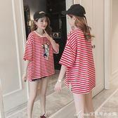 條紋卡通印花孕婦短袖t恤寬鬆休閒大碼上衣舒適彈力純棉夏裝艾美時尚衣櫥