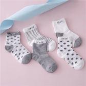 春夏季網襪舒適薄款兒童襪寶寶純棉襪子男童襪女童短襪-5入/灰色