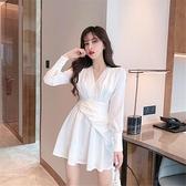 冬季連身裙 秋季2020新款氣質時尚性感收腰白色長袖中長款不規則連衣裙女裝潮【快速出貨】
