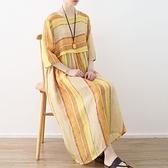 洋裝-長款寬版清新優雅圓領條紋女連身裙73sm23[巴黎精品]