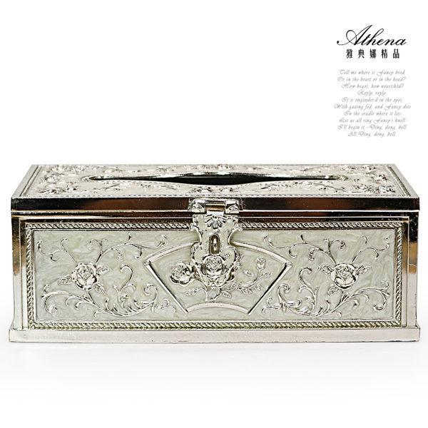 【雅典娜家飾】白色琺瑯銀玫瑰浮雕合金紙巾盒-GC03
