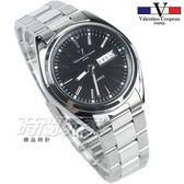 valentino coupeau 范倫鐵諾 都會風格 日期 星期 顯示窗 不鏽鋼 防水手錶 男錶 黑色 石英錶 V62188S黑釘