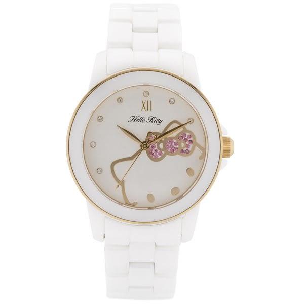 【HELLO KITTY】凱蒂貓甜心夢幻陶瓷手錶-白X金