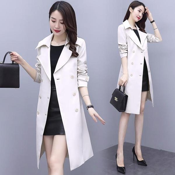 風衣外套 風衣女中長款2021年新款秋季女裝英倫風雙排扣流行外套女韓版寬松 霓裳細軟