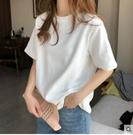 白色短袖t恤女2021年新款素色體恤寬鬆打底衫女內搭素色上衣ins潮 童趣屋 免運