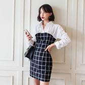 洋裝 禮服1333#2019韓版新款襯衫領拼接假兩件格紋女裝撞色長袖短款連身裙ZLA71-A依佳衣