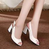 售完即止-魚嘴鞋女涼鞋夏季新款百搭中跟粗跟女鞋正韓高跟單鞋大尺碼10-16(庫存清出T)