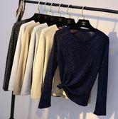 春夏季T恤簡約長袖圓領套頭亮絲打底衫女薄款修身針織衫上衣 熊貓本