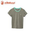 【Wildland 荒野 中童 雙色抗UV圓領排汗上衣《淺灰》】0A61662-91/吸濕排汗/抗UV/童裝/休閒
