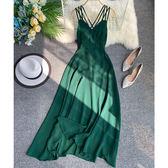 夏裝新款性感吊帶露背連衣裙修身顯瘦晚會禮服長裙度假沙灘裙-奇幻樂園