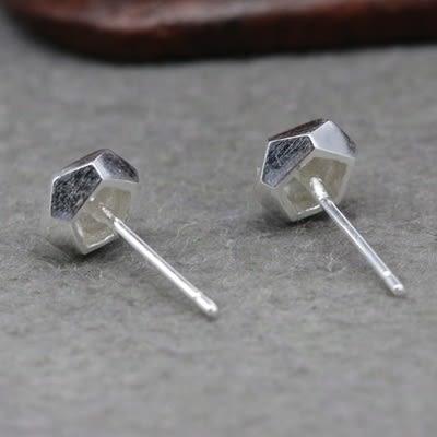 925純銀耳環(耳針式)-個性幾何多邊形生日情人節禮物女飾品73dr50【時尚巴黎】
