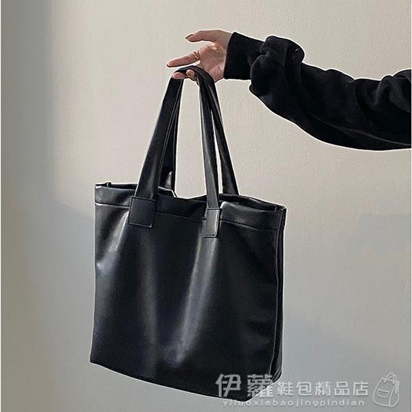 側背包 秋冬新款韓國ins簡約復古軟皮高級感側背大容量托特包女 伊蘿 618狂歡