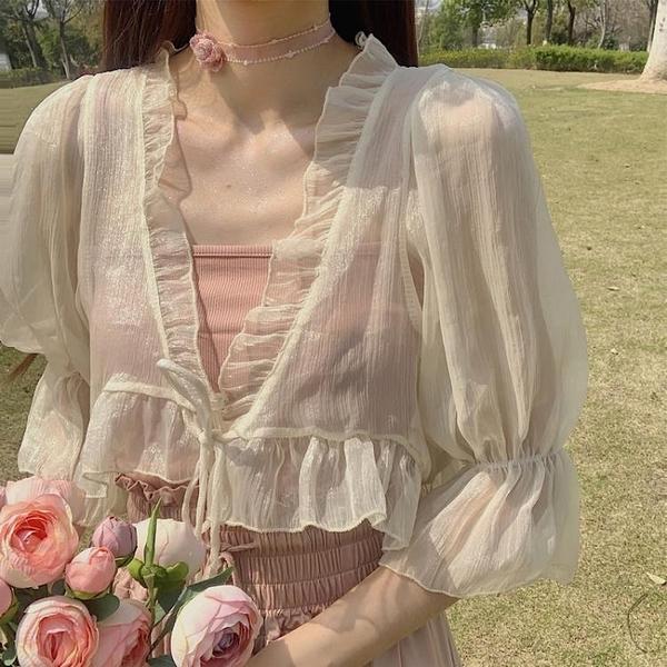 罩衫 超仙雪紡小披肩女夏季薄款開衫外搭白色短款小外披配吊帶裙子罩衫 瑪麗蘇