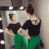 FINDSENSE G5 韓國時尚 純色 短袖T恤 學生 百搭 露背 上衣