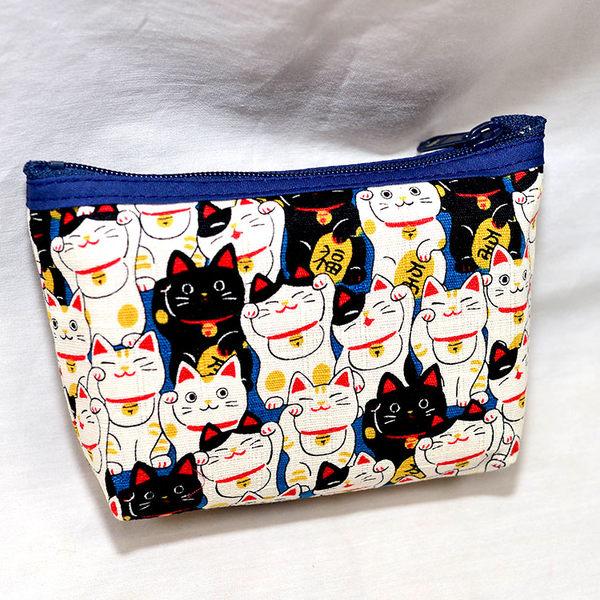 招財貓 拉鍊 零錢包 帆布質 日本製