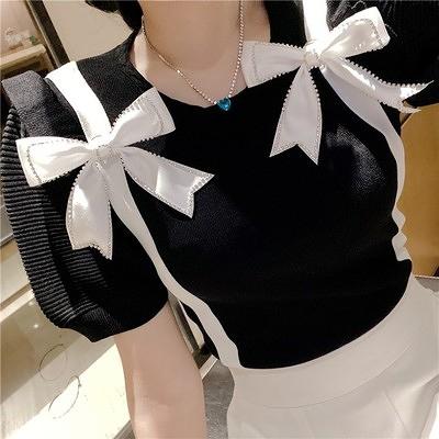 短袖針織衫女套頭冰絲修身顯瘦短款鑲鉆蝴蝶結設計感上衣1F064-A.胖丫